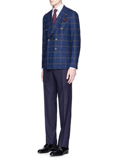 ISAIA 'Cortina' double breasted wool-cashmere hopsack blazer