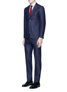 ISAIA 'Cortina' contrast check wool suit