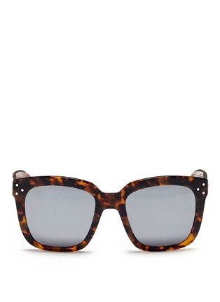 Main View - Click To Enlarge - Spektre - 'Romano' tortoiseshell acetate oversize square mirror sunglasses