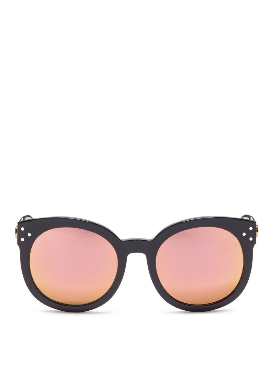 Isabel acetate round mirror sunglasses by Spektre