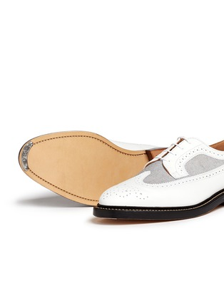 - Thom Browne - Oxford fabric insert leather longwing Derbies