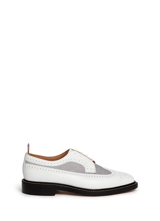 Thom Browne-Oxford fabric insert leather longwing Derbies