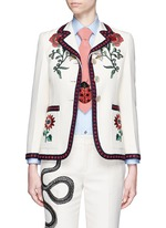 Crochet trim flower embroidery cady crepe tailored jacket