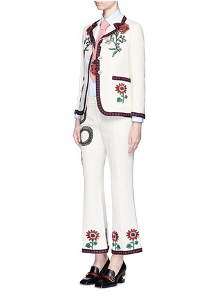 Gucci - Crochet trim flower embroidery cady crepe tailored jacket
