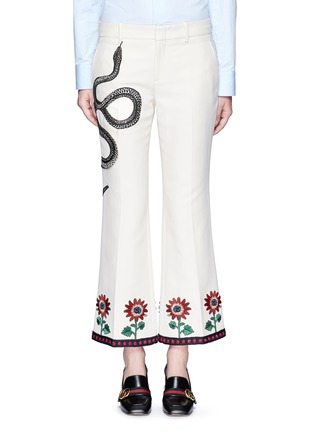 Main View - Click To Enlarge - Gucci - Crochet trim embroidered flared cady pants