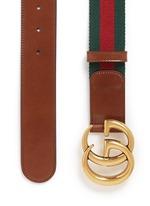 GG logo buckle leather canvas web belt