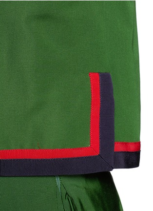 Detail View - Click To Enlarge - Gucci - Web ribbon trim cotton-silk faille jacket