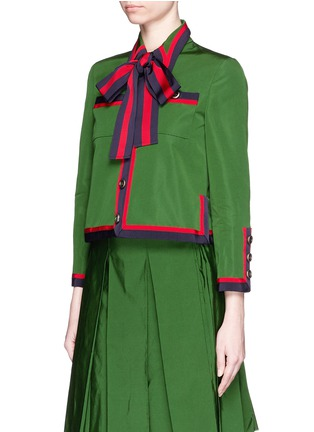 Front View - Click To Enlarge - Gucci - Web ribbon trim cotton-silk faille jacket