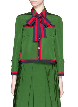 Main View - Click To Enlarge - Gucci - Web ribbon trim cotton-silk faille jacket