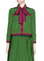 Web ribbon trim cotton-silk faille jacket