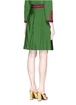 Back View - Click To Enlarge - Gucci - Web ribbon trim inverted pleat faille skirt