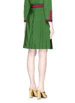 Web ribbon trim inverted pleat faille skirt