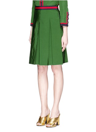 Front View - Click To Enlarge - Gucci - Web ribbon trim inverted pleat faille skirt