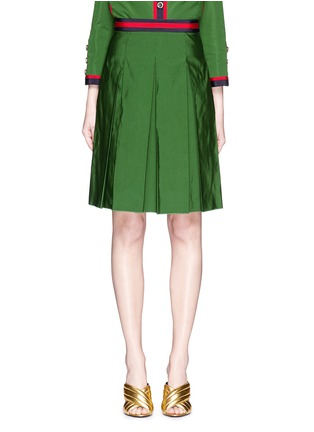 Main View - Click To Enlarge - Gucci - Web ribbon trim inverted pleat faille skirt