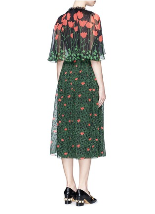 Back View - Click To Enlarge - Gucci - Sequin flower brooch tulip leaf print silk cape dress