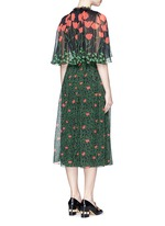 Sequin flower brooch tulip leaf print silk cape dress