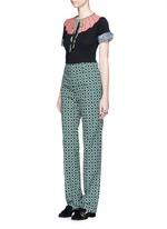 Retro wave print cotton suiting pants