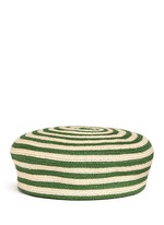 Stripe hemp-cotton straw beret hat