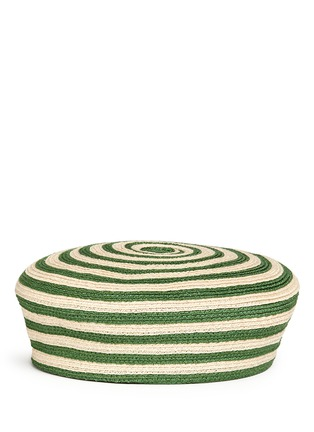 Figure View - Click To Enlarge - Gucci - Stripe hemp-cotton straw beret hat