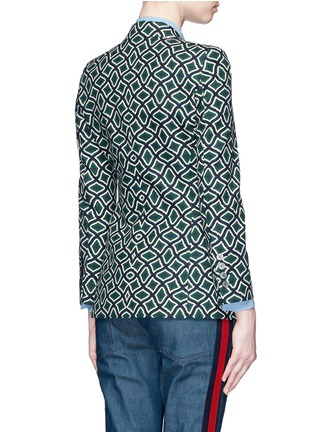 Back View - Click To Enlarge - Gucci - Retro wave print cotton suiting jacket