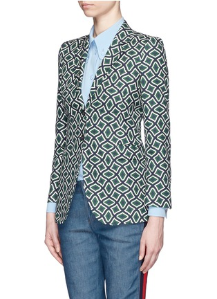 Front View - Click To Enlarge - Gucci - Retro wave print cotton suiting jacket
