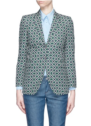 Main View - Click To Enlarge - Gucci - Retro wave print cotton suiting jacket