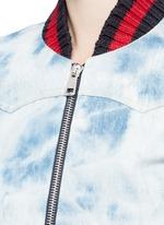 Stripe rib tie dye denim bomber jacket