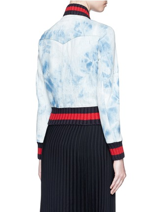 Back View - Click To Enlarge - Gucci - Stripe rib tie dye denim bomber jacket