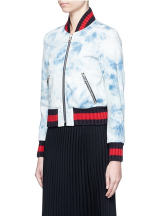 Front View - Click To Enlarge - Gucci - Stripe rib tie dye denim bomber jacket