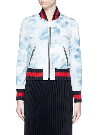 Main View - Click To Enlarge - Gucci - Stripe rib tie dye denim bomber jacket