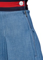 Stripe web waistband inverted pleat denim skirt