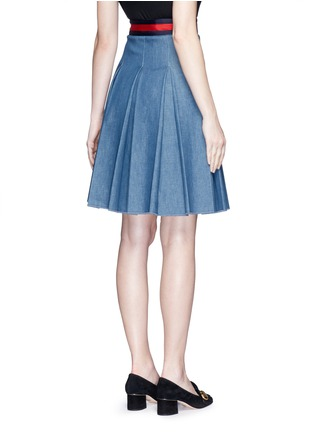 Back View - Click To Enlarge - Gucci - Stripe web waistband inverted pleat denim skirt