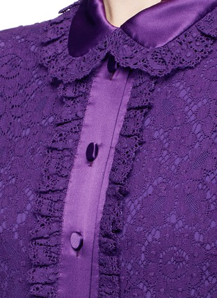 Detail View - Click To Enlarge - Gucci - Ruffle trim Cluny lace shirt dress