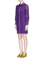 Ruffle trim Cluny lace shirt dress