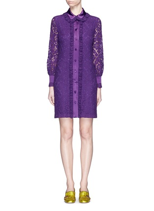 Main View - Click To Enlarge - Gucci - Ruffle trim Cluny lace shirt dress