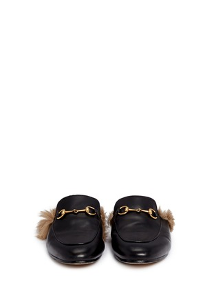 Front View - Click To Enlarge - Gucci - Fur lined leather loafer slides