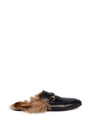 Main View - Click To Enlarge - Gucci - Fur lined leather loafer slides