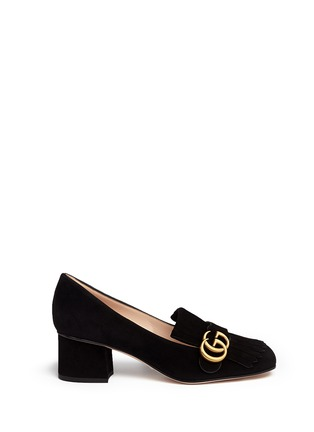 Main View - Click To Enlarge - Gucci - 'Marmont' kiltie fringe suede loafer pumps