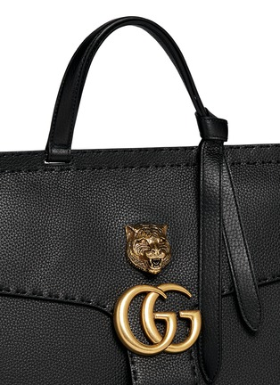 Detail View - Click To Enlarge - Gucci - 'GG Marmont' tiger head pebbled leather satchel