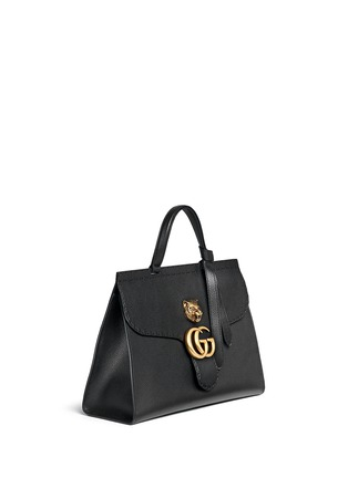 Gucci - 'GG Marmont' tiger head pebbled leather satchel