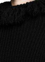 Frayed turtleneck rib wool sweater