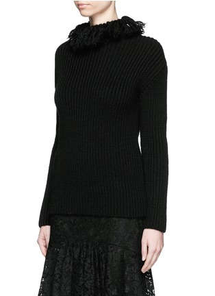 Front View - Click To Enlarge - Valentino - Frayed turtleneck rib wool sweater