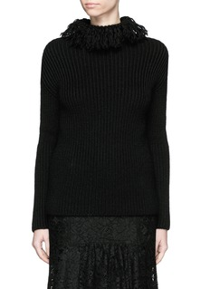 VALENTINO Frayed turtleneck rib wool sweater