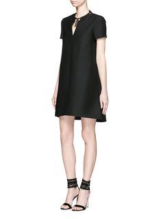 VALENTINOElephant torque neck wool-silk Crepe Couture dress