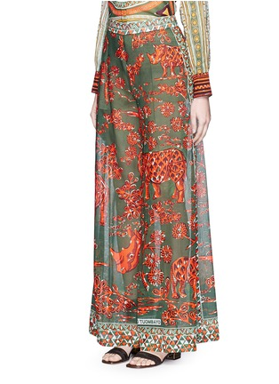 Front View - Click To Enlarge - Valentino - Tribal rhinoceros print wide leg pants