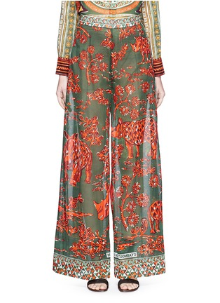 Main View - Click To Enlarge - Valentino - Tribal rhinoceros print wide leg pants