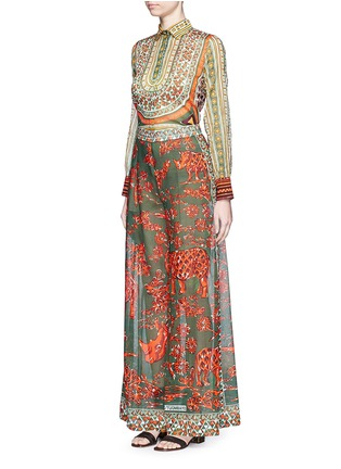Figure View - Click To Enlarge - Valentino - Tribal rhinoceros print wide leg pants