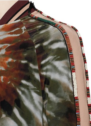 Detail View - Click To Enlarge - Valentino - Beaded tie dye print silk long bomber jacket