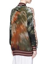 Beaded tie dye print silk long bomber jacket
