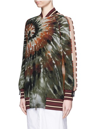 Front View - Click To Enlarge - Valentino - Beaded tie dye print silk long bomber jacket